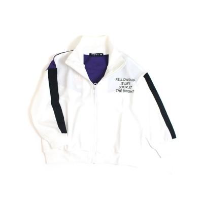 (MB2/エムビーツー)ジャケット ジャージ素材 BIGサイズ 袖ライン トラックジャケット/ ホワイト