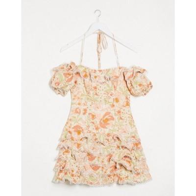 バードット レディース ワンピース トップス Bardot ruffle off shoulder mini dress with frill detail in taupe rose Taupe rose