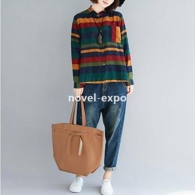 シャツブラウスレディースネルシャツ長袖秋冬チェックシャツ羽織秋物秋服ゆったり大きいサイズトップス