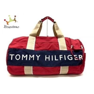 トミーヒルフィガー ボストンバッグ - オレンジ×ベージュ×ダークネイビー 本体ロックなし 新着 20201227