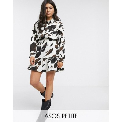 エイソス ASOS Petite レディース ワンピース シャツワンピース ワンピース・ドレス ASOS DESIGN Petite long sleeve cow print shirt dress