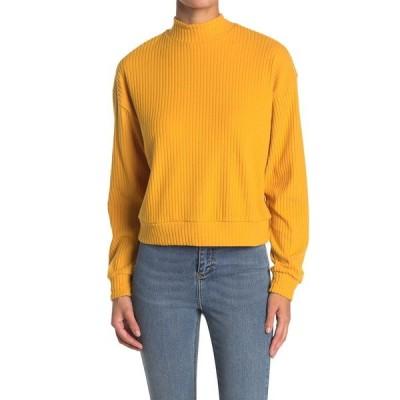 アボンド レディース Tシャツ トップス Brushed Ribbed Knit Mock Neck Sweater YELLOW MINERAL