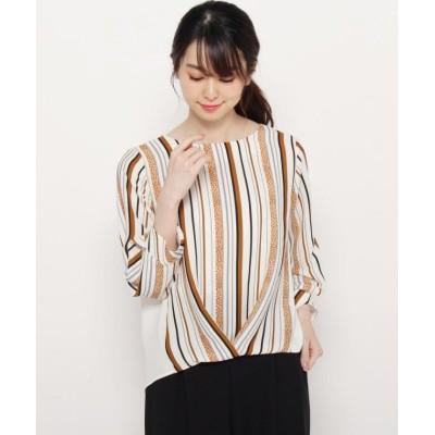 【スマートピンク】 オータムマルチストライプシャツ レディース ホワイト 40(M/ミセス) smart pink