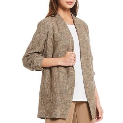 エイリーンフィッシャー レディース ジャケット・ブルゾン アウター Petite Size Tweedy Cotton Slub Long Sleeve Open Front Jacket