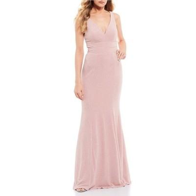 シティヴァイブ レディース ワンピース トップス Triple Banded Waist Glitter Long Dress