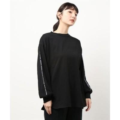 tシャツ Tシャツ 【21春新着】袖ラインロゴロングTシャツ