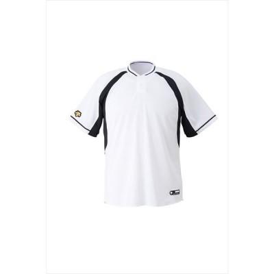 【1点までメール便対応】 [DESCENTE]デサント野球 ジュニアベースボールシャツ (JDB103B)(SWBK) Sホワイト×ブラック