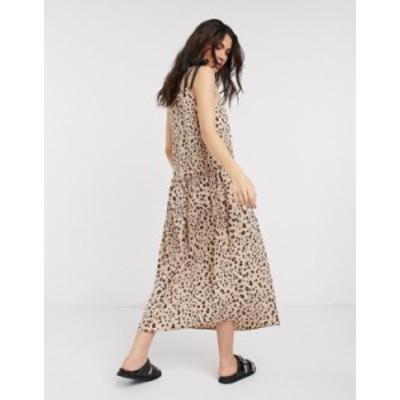 トップショップ レディース ワンピース トップス Topshop dropped waist midi dress in animal print Brown