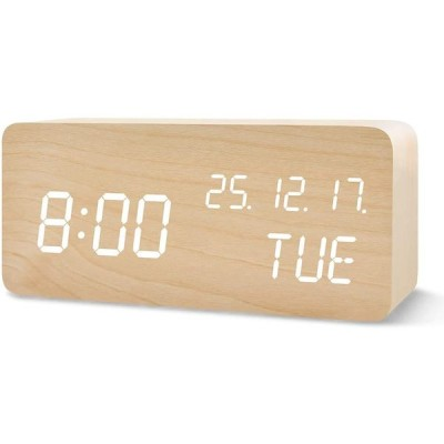QANSI 目覚まし時計 置き時計 LEDデジタル時計 木目調 音感センサー 明るさ調節 USB/乾電池給電 日付 日月年の順番 温度表示 アラーム