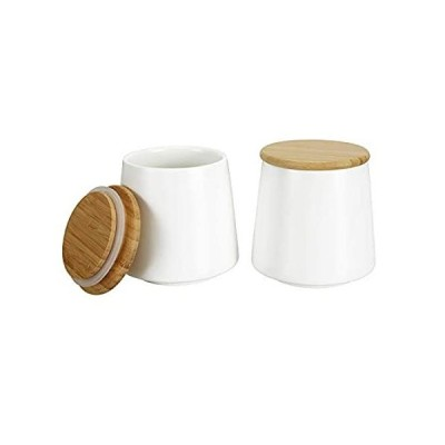 特別価格Cedilis 2 Pack 17 Oz Ceramic Food Storage Jar with Airtight Bamboo Lid, Whi好評販売中