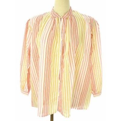 【中古】アダムエロペ シルク混 ストライプ シャツ ブラウス F ピンク系 ホワイト 薄手 長袖 トップス レディース