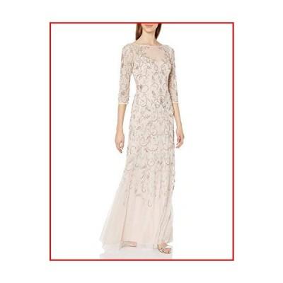 【新品】Adrianna Papell Women's Beaded Long Gown with Illusion Neckline, Shell, 6【並行輸入品】