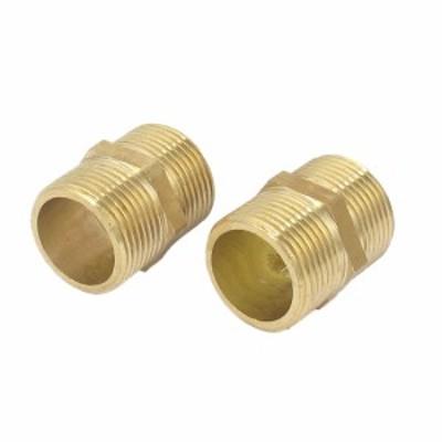 uxcell ヘックスニップル 真鍮材質 コネクタ 空気圧パイプ クイックアダプタ 空気燃料ガスパイプ 2個入り