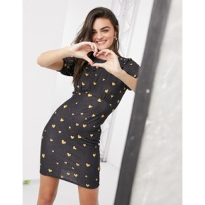 エイソス レディース ワンピース トップス ASOS DESIGN mini body-conscious dress with collar detail in black heart print Black hear