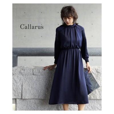 ドレス ワンピース レディース Callarus VINTAGE SATIN PLEATS SLEEVE ONEPIECE DRESS S/M/L ニッセン nissen