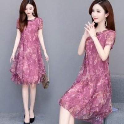 女性の夏のラウンドネック半袖プリントルーズ薄いドレス