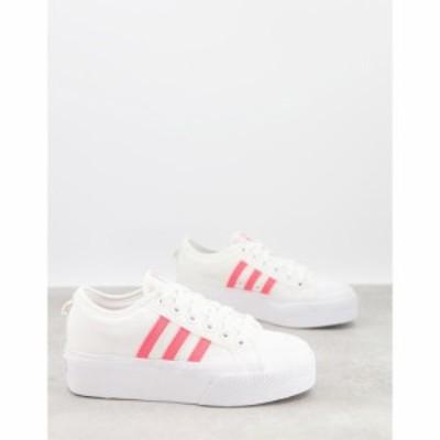 アディダス adidas Originals レディース スニーカー シューズ・靴 Platform Nizza Trainers In White With Pink Three Stripes ホワイト