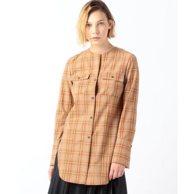 TOMORROWLAND/トゥモローランド ドライウーステッドウール ノーカラーロングシャツ 46 ブラウン系 36(9号)
