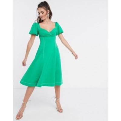 エイソス レディース ワンピース トップス ASOS DESIGN puff sleeve prom midi dress with contrast topstitch in green Green