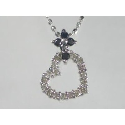 K18WG ホワイトゴールド ブラックダイヤモンド/ダイヤハート ペンダント ネックレス