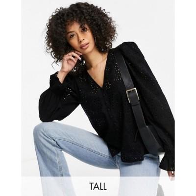 ベロモーダ レディース シャツ トップス Vero Moda Tall button up broderie blouse in black