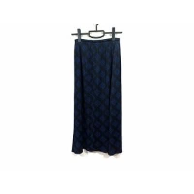 プリーツプリーズ PLEATS PLEASE ロングスカート サイズ1 S レディース 美品 黒×ブルー プリーツ【中古】20200805