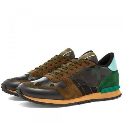 バレンチノ スニーカー シューズ 高級 メンズValentino Rockrunner SneakerArmy Green & Brushwo