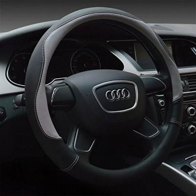車 ステアリング・ホイール アクセサリー Faceyoung Microfiber Leather Universal 15 inch Steering Wheel Covers, Gray 正規輸入品