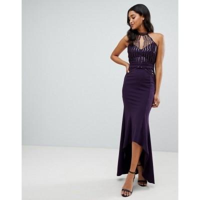 リプシー レディース ワンピース トップス Lipsy scallop front sequin maxi dress with asymmetric hem in purple Purple