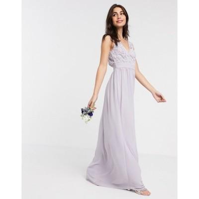 ティエフエヌシー レディース ワンピース トップス TFNC Bridesmaid lace plunge maxi dress with scalloped back in gray Grey