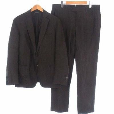 【中古】ブルックスブラザーズ セットアップ スーツ リネン シルク 2B ジャケット スラックス パンツ 背抜き 茶 42S