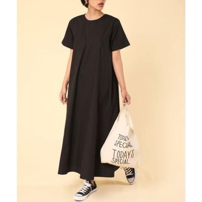 クラシカルエルフ Classical Elf Tシャツマキシワンピース半袖大きいサイズリゾートロングワンピース(ブラック)
