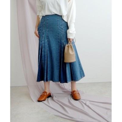 スカート プリーツ風ミモレデニムスカート