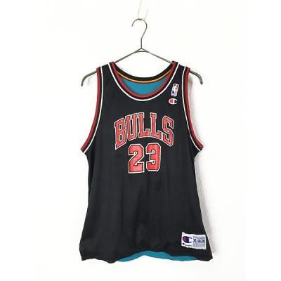 レディース 古着 Champion 豪華 NBA BULLS No.23 M.JORDAN × Pistons No.33 HILL リバーシブル メッシュ タンクトップ Boys XL 古着