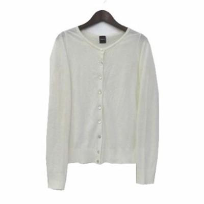 【中古】ドロシーズ DRWCYS ニット カーディガン 1 S 白 ホワイト 長袖 薄手 無地 シンプル レディース