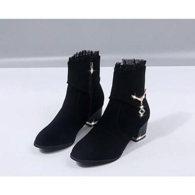 ショートブーツレディースローヒール厚底シューズ靴無地カジュアルシューズ美脚歩きやすい2020年秋冬新作