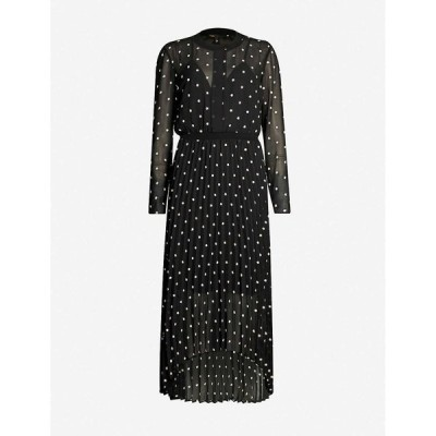 マージュ MAJE レディース ワンピース ワンピース・ドレス Floral-embroidered crepe dress Black
