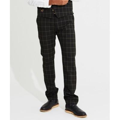 パンツ スラックス Windowpane Stretch Trousers ウィンドウペン テーパード