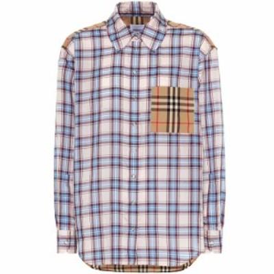 バーバリー Burberry レディース ブラウス・シャツ トップス Checked cotton-blend shirt Pale Blue