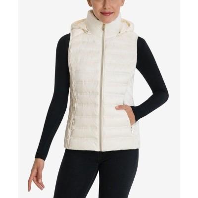 マイケルコース コート アウター レディース Packable Down Hooded Vest Bone