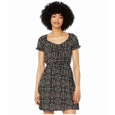アメリカンローズ ワンピース トップス レディース Melody Tie Front Dress with Ruffle Sleeves Black