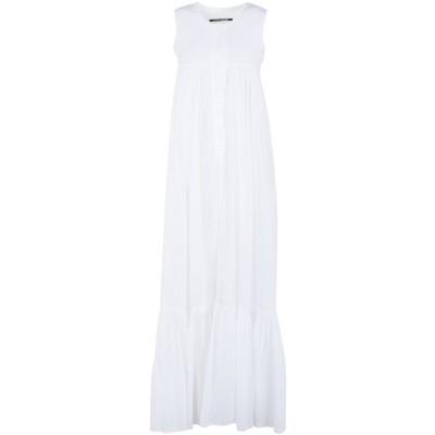 EUROPEAN CULTURE ロングワンピース&ドレス ホワイト L コットン 96% / テンセル 3% / 麻 1% ロングワンピース&ドレス