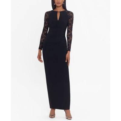 ベッツィアンドアダム レディース ワンピース トップス Lace-Sleeve Gown