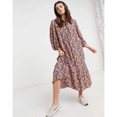 ワイ エー エス Y.A.S レディース ワンピース ワンピース・ドレス Smock Midi Dress With Tie Neck In Bright Floral Print マルチカラー