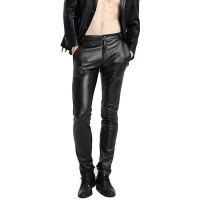 [eleitchtee] レザーパンツ メンズ スキニー 革パンツ ライダースパンツ レザーズボン 皮パン 裏フリース バイクウェア スリム (30