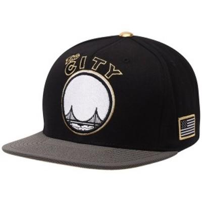 ミッチェル&ネス メンズ 帽子 アクセサリー San Francisco Warriors Mitchell & Ness Gold Tip Adjustable Snapback Hat Black/Gray
