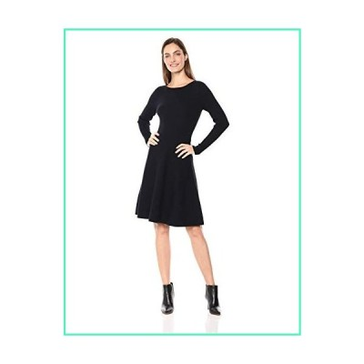 Lark & Ro Women's Long Sleeve Ribbed Crewneck Fit and Flare Sweater Dress, Navy, Large並行輸入品