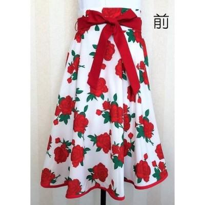 スカート 膝下 ミモレ丈 花柄 薔薇柄 フレアスカート 円形スカート 赤色系 バイヤステープ装飾 リボン付き 裏地なし 左脇ファスナー