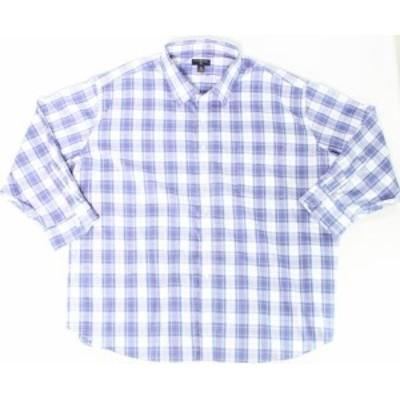 Plaid  ファッション ドレス Club Room NEW Blue White Mens Size 22 Big Plaid Print Dress Shirt