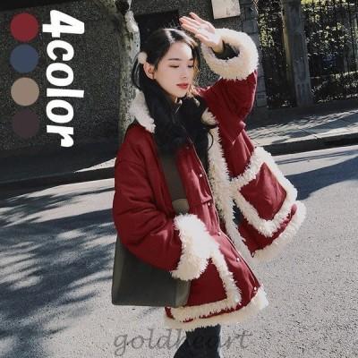 コート ダウンコート レディース 中綿コート ダウンジャケット ミディアム丈コート 秋冬 カジュアル 厚手 もこもこ 暖かい 大きいサイズ アウター 4色